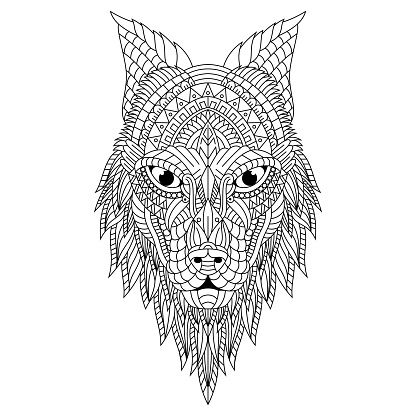 Hand drawn doodle wolf head