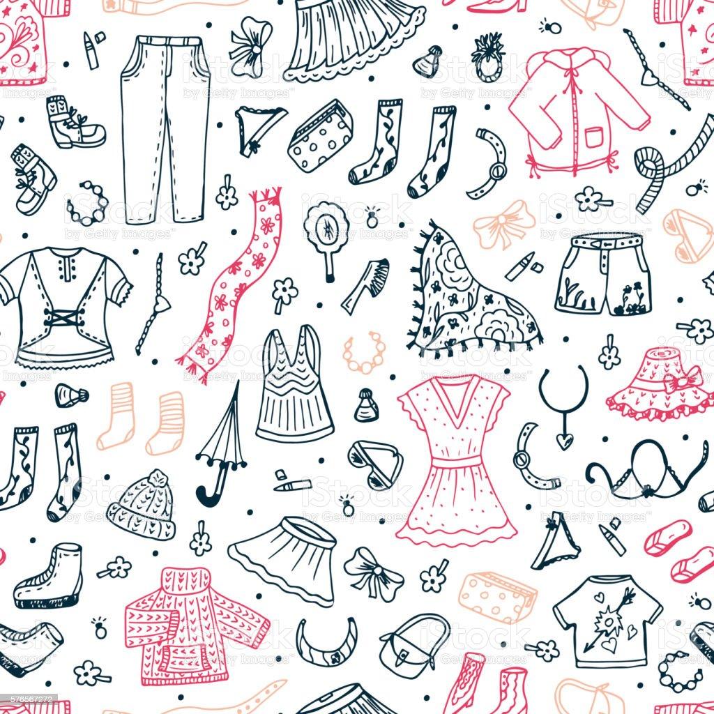 Vetores De Hand Drawn Doodle Women Clothing Seamless Pattern Fashion Clothes Background E Mais Imagens De Acessorio Istock