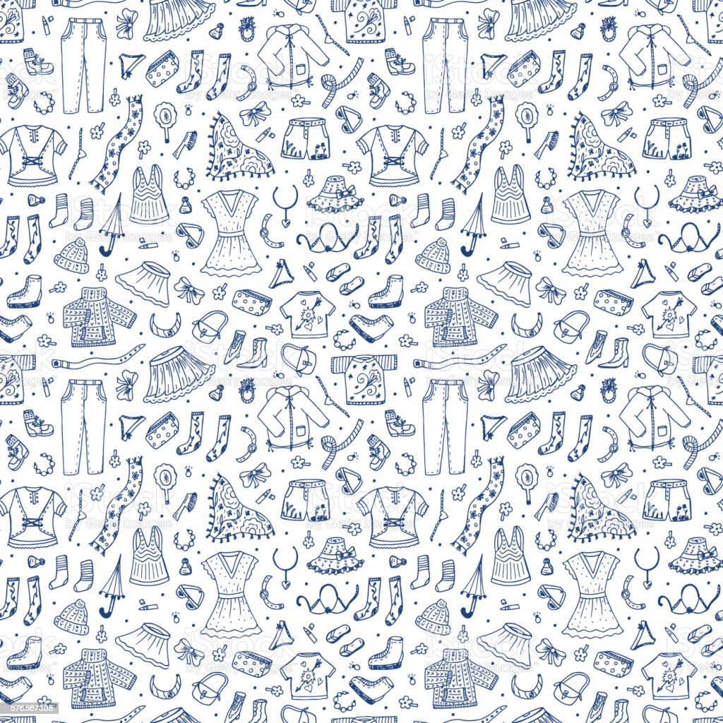 hand drawn doodle women clothing seamless pattern fashion