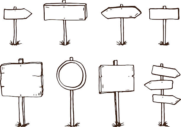 illustrations, cliparts, dessins animés et icônes de dessinés à la main doodle panneaux bois et flèches - panneaux de signalisation routière