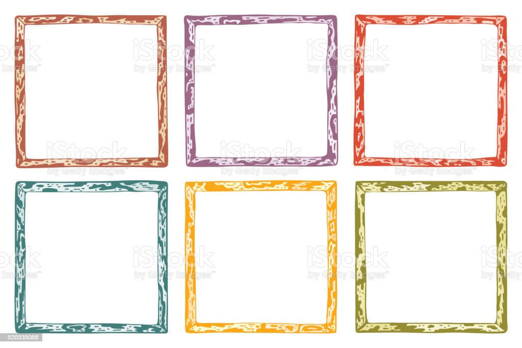 Hand Drawn Doodle Wooden Frames Vector Set Spotted Colorful Frame ...