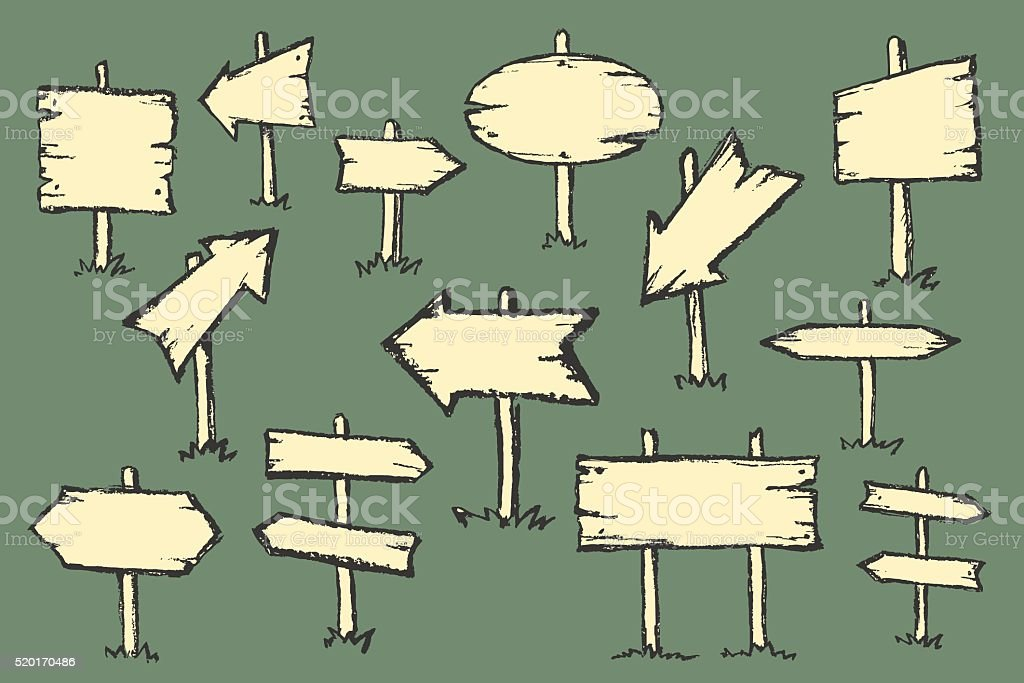 Hand drawn doodle wooden road signs. vector art illustration