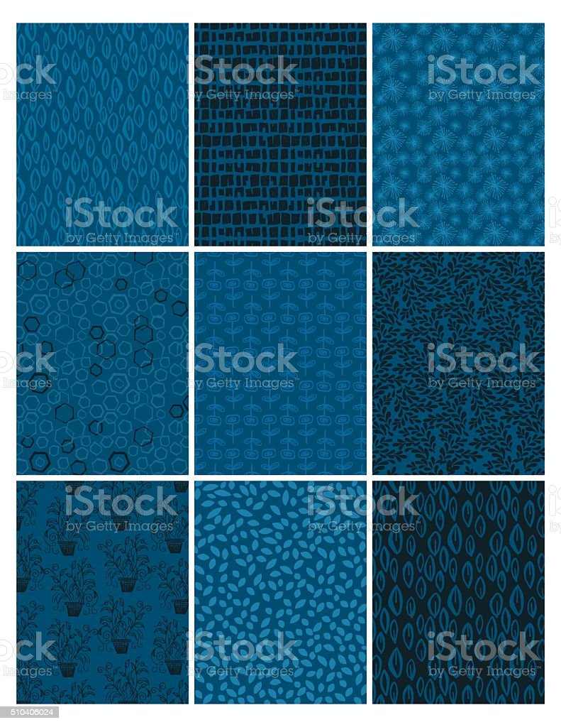 Hand Drawn Doodled Elements Pattern Backgrounds. vector art illustration