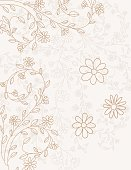 Hand Drawn Doodled Floral Vines Background. Soft pastel gold and beige.