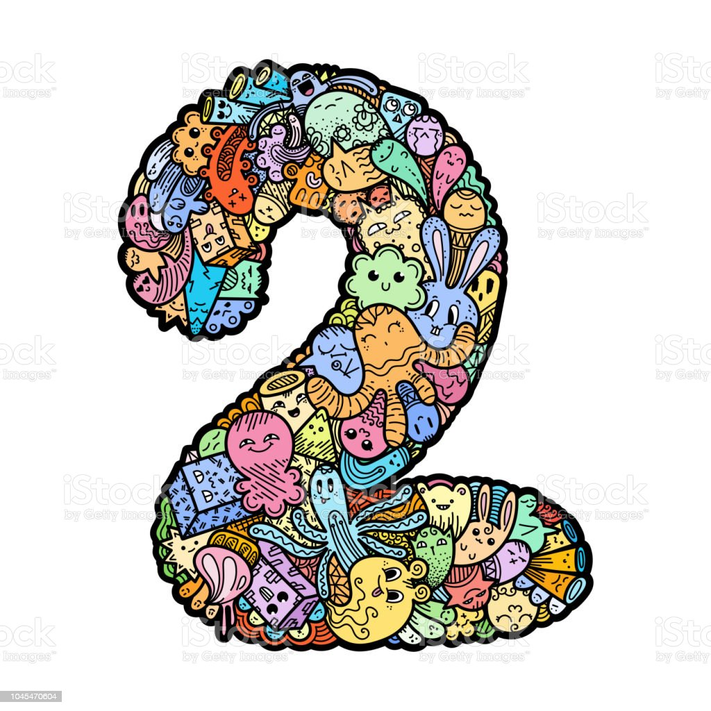 Hand Drawn Doodled Kids Numbers Cute Monstred Numbers Math Symbols