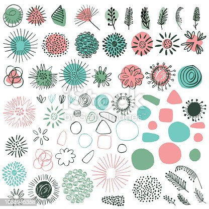 Hand Drawn Doodled Retro Floral Elements.