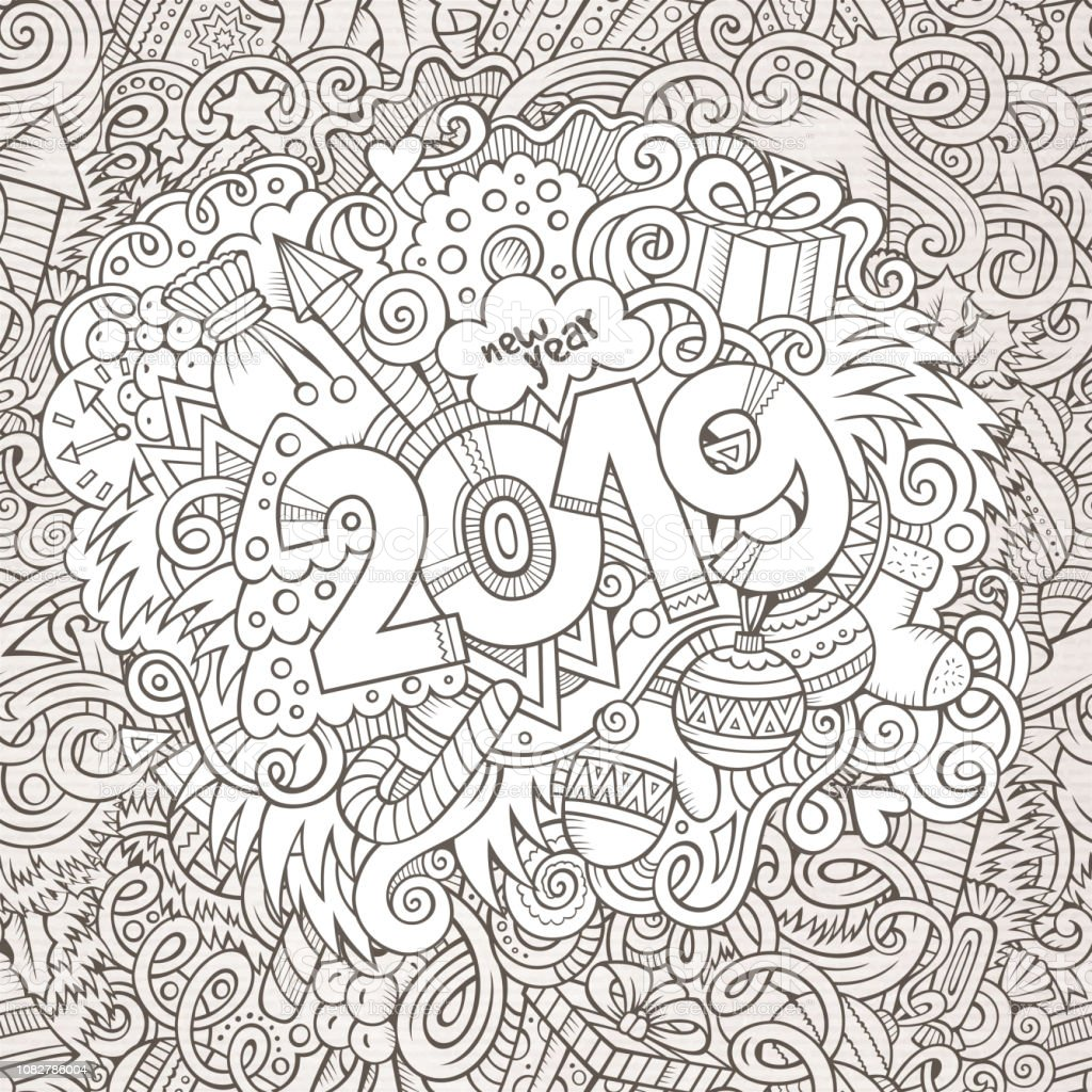 2019 hand drawn doodles contour line illustration. New Year poster....