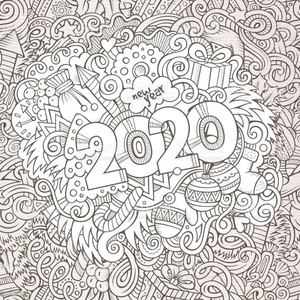 2020 El Cizilmis Doodles Kontur Cizgi Illustrasyon Yeni Yil Afisi