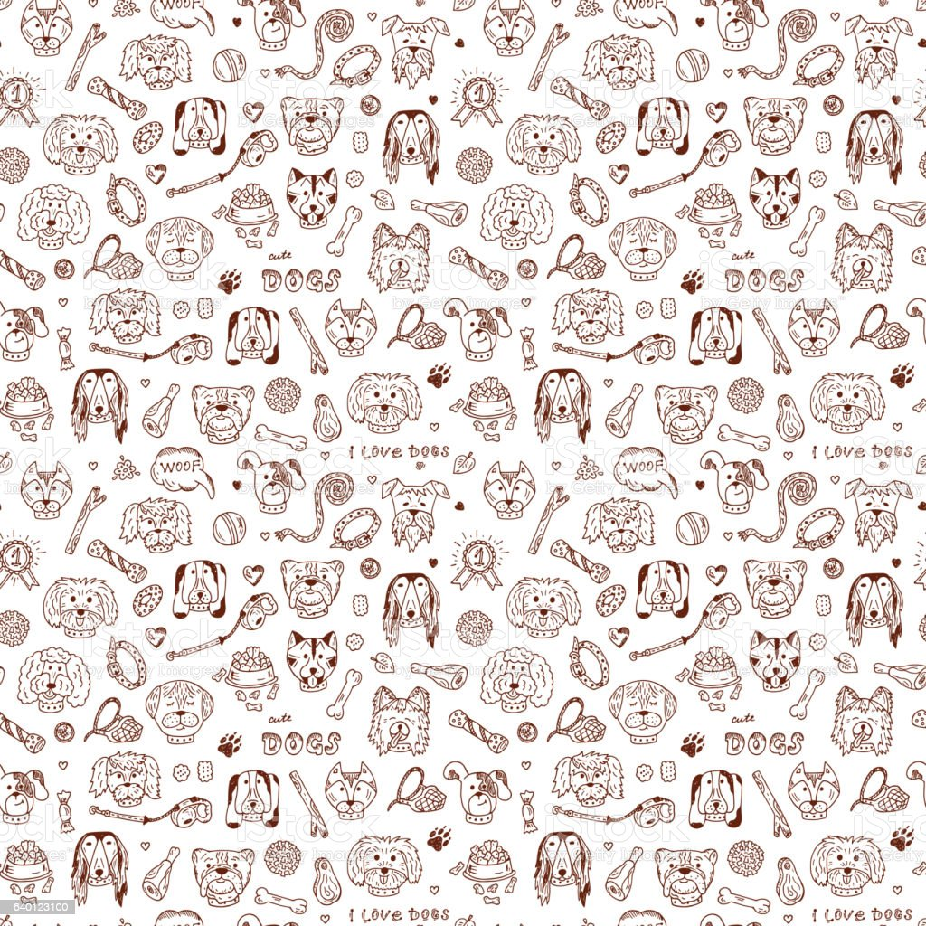 Hand Drawn Doodles Dogs and accessories for pets Seamless pattern vector art illustration