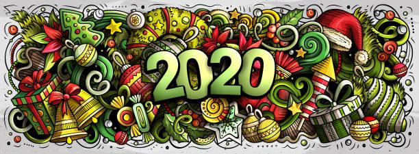 2020 handgezeichnete Doodles Illustration. Neujahr Objekte und Elemente Design – Vektorgrafik