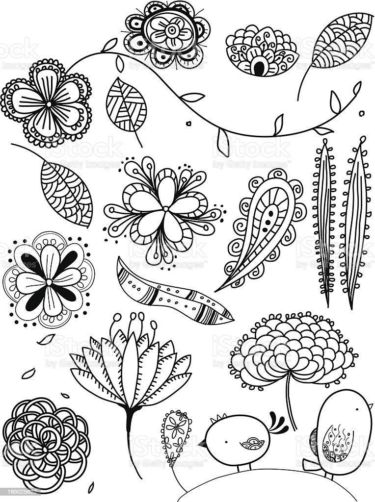 Hand drawn doodles of natural objects vector art illustration
