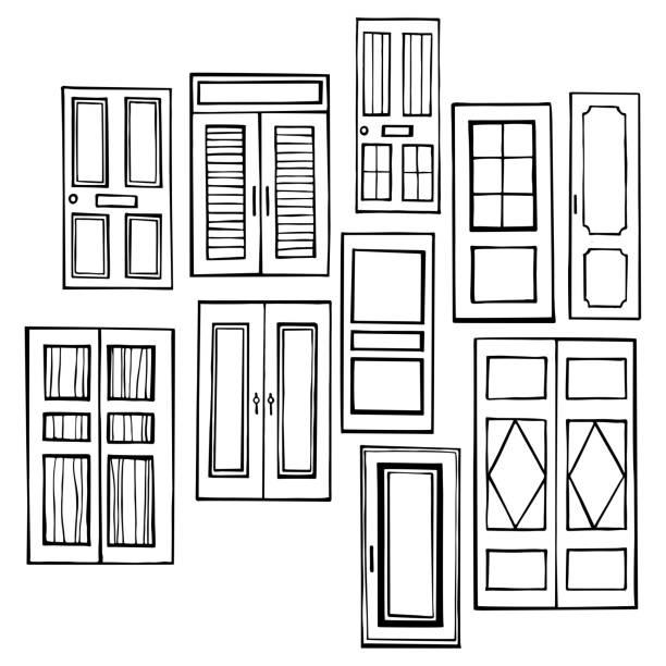 bildbanksillustrationer, clip art samt tecknat material och ikoner med handritade dörrar. illustration av vektor skiss. - koncept och teman
