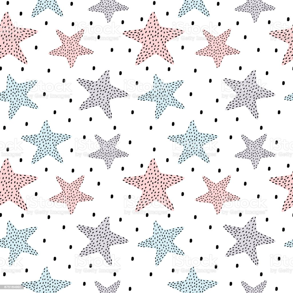 hand drawn dotted stars seamless vector pattern background illustration vector art illustration