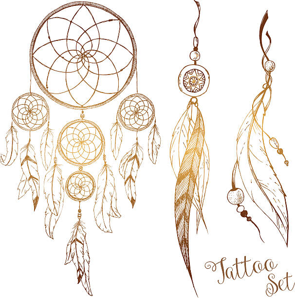 Hand drawn dream catcher Beautiful image with nice hand drawn dream catcher dreamcatcher stock illustrations