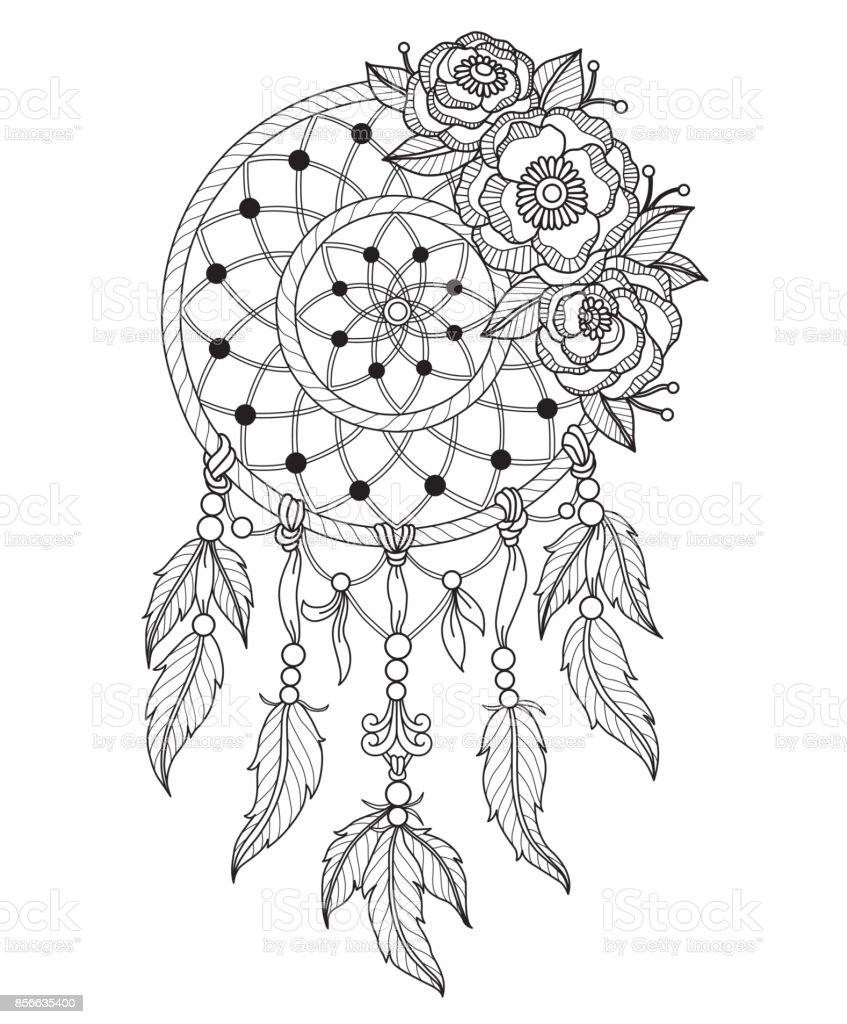 Hand Drawn Dreamcatcher For Adult Coloring Page Stock Vector Art ...