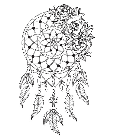 hand drawn dreamcatcher for adult coloring page stock