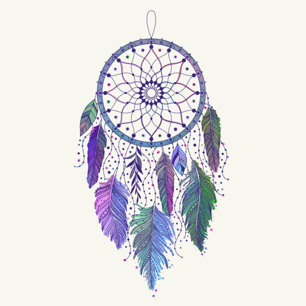 Bекторная иллюстрация Hand drawn dreamcatcher with colored feathers