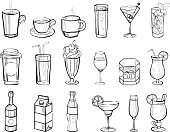 Hand drawn drinks and alcoholic cocktails big set doodle vector illustration