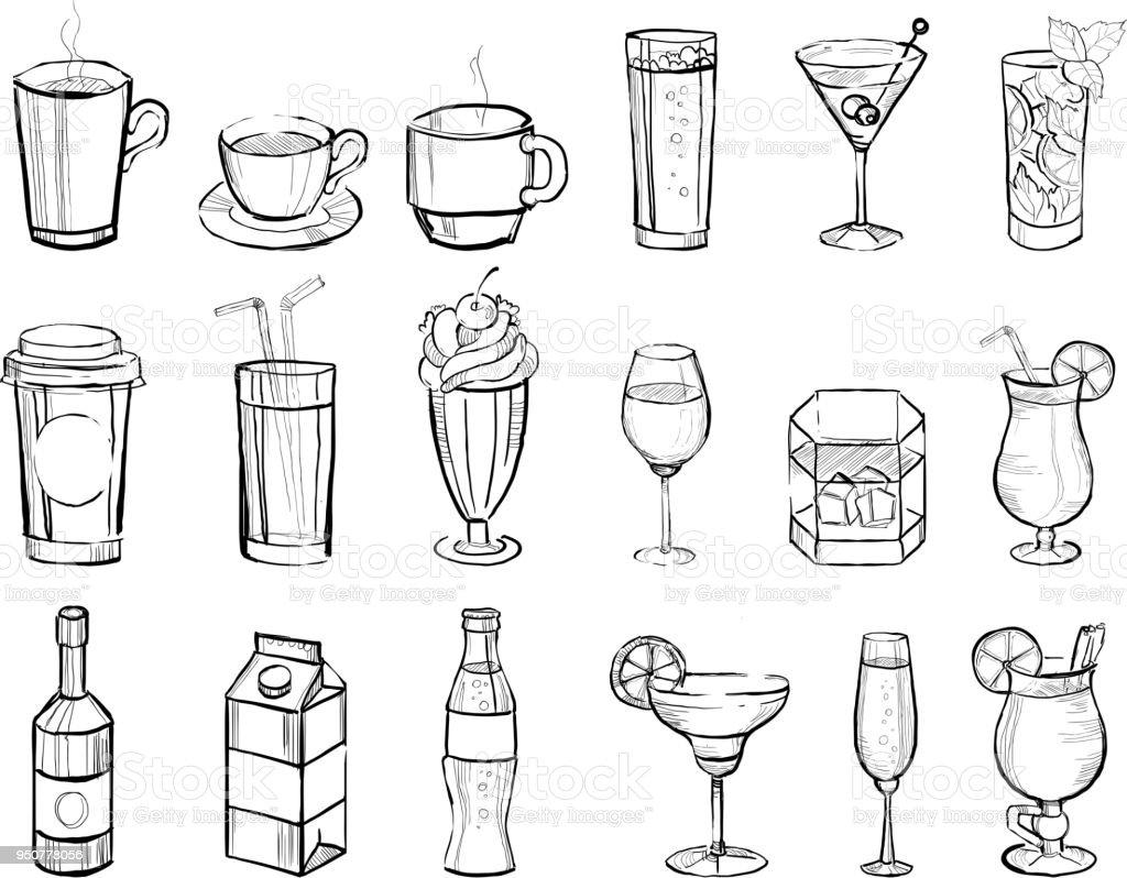 Handgezeichnete Getränke und alkoholische Cocktails groß eingestellt Doodle-Vektor-illustration – Vektorgrafik