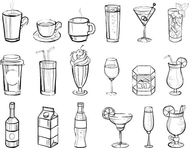 ilustraciones, imágenes clip art, dibujos animados e iconos de stock de dibujado a mano bebidas y cócteles de alcohol grandes set doodle ilustración de vectores - café bebida