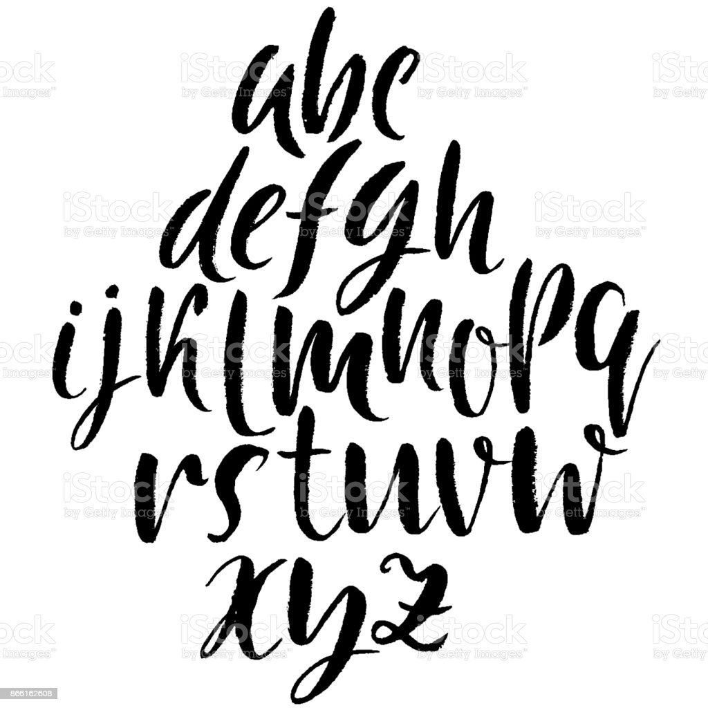 Hand Drawn Dry Brush Font Modern Lettering Grunge Style Alphabet Calligraphy Script