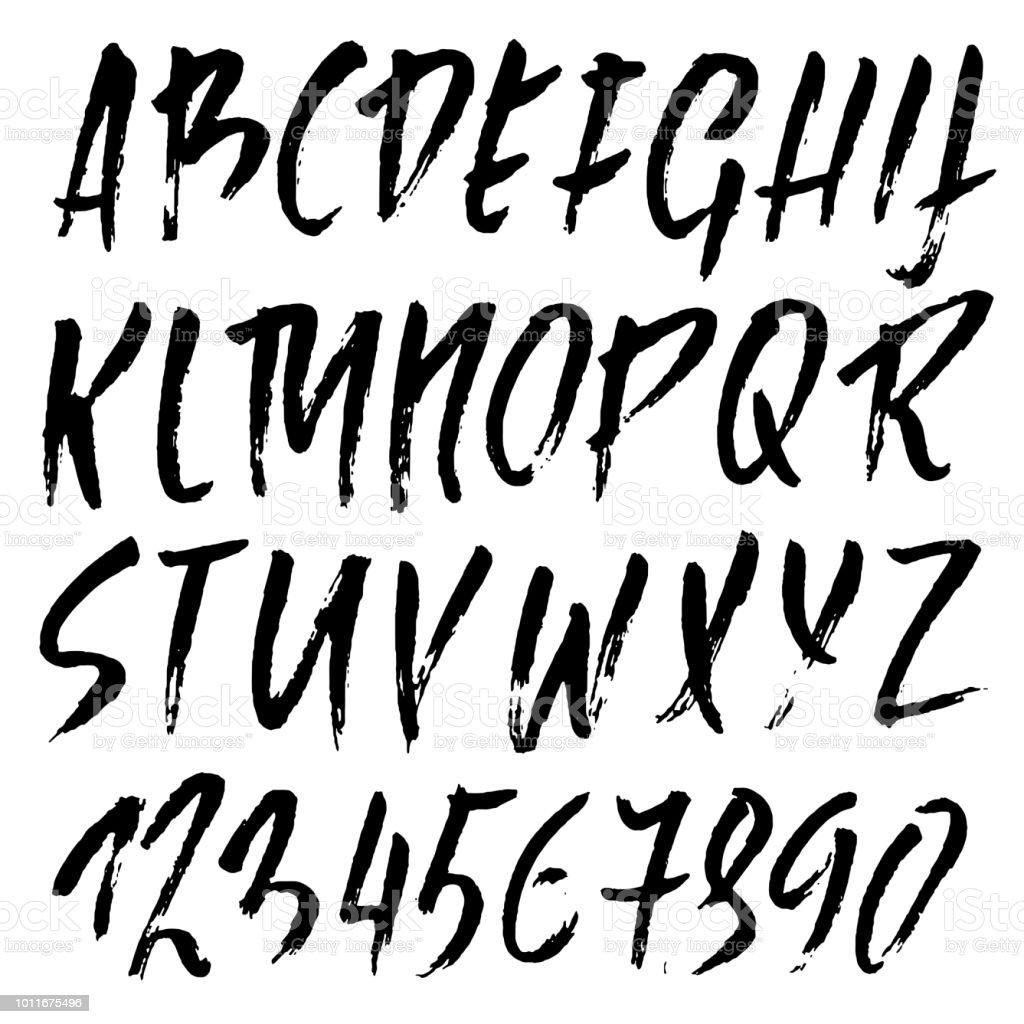 핸드 드라이 브러쉬 레터링 그려 그런 지 스타일 알파벳입니다 필기체 폰트입니다 벡터 일러스트입니다 개체