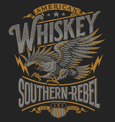 Hand drawn Eagle Whiskey label inspired T-shirt graphic