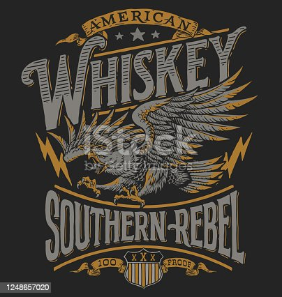 istock Hand drawn Eagle Whiskey label inspired T-shirt graphic 1248657020
