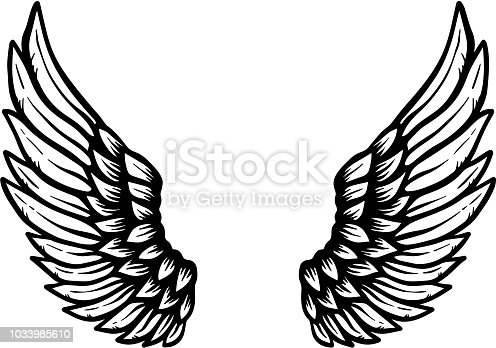 Hand drawn eagle wings illustration isolated on white background. Design element for poster, card, banner, sign, emblem, t shirt. Vector illustration