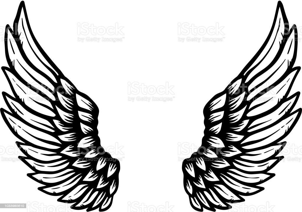 Hand drawn eagle wings illustration isolated on white background. Design element for poster, card, banner, sign, emblem, t shirt. vector art illustration