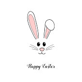 Hand drawn Easter bunny with wishes. Vector