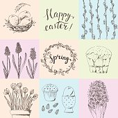 Hand drawn easter card set with flowers and cake