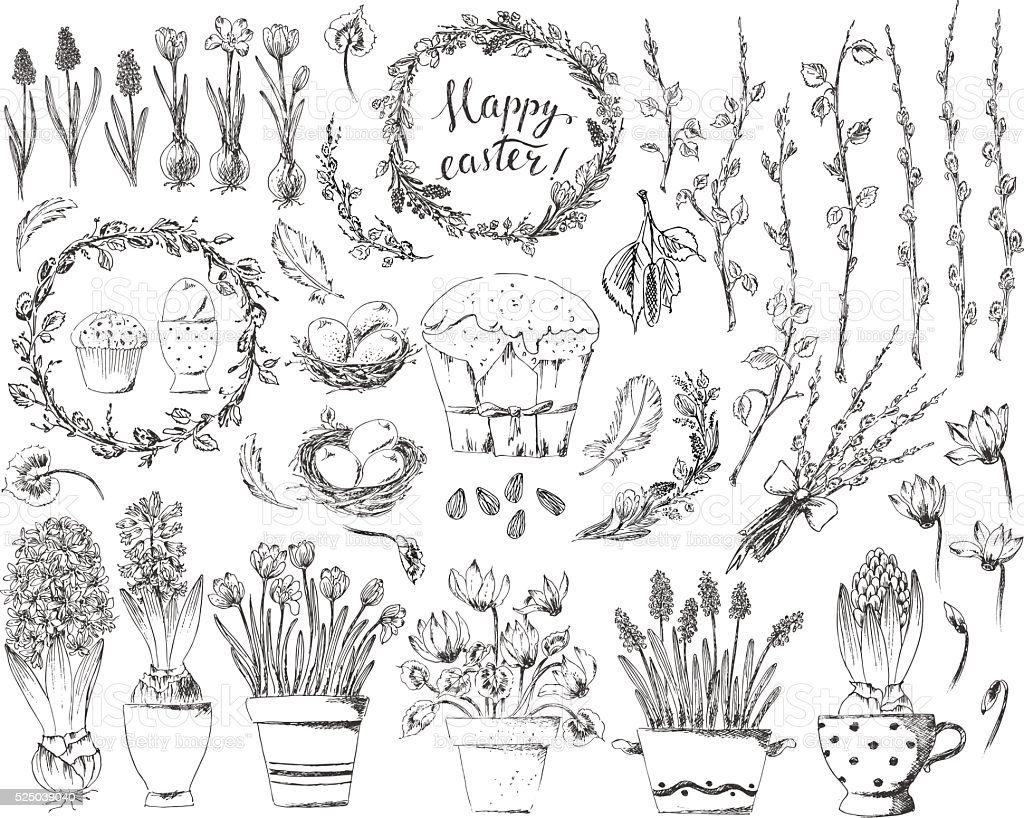 Hand drawn easter design elements set with easter wreath, eggs vector art illustration