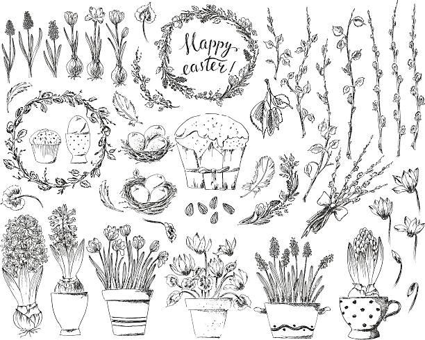 handgezeichnet easter-design-elemente satz mit ostern kranz, eiern - alpenveilchen stock-grafiken, -clipart, -cartoons und -symbole