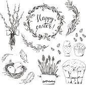 Hand drawn easter design elements set with wreath, eggs, willow