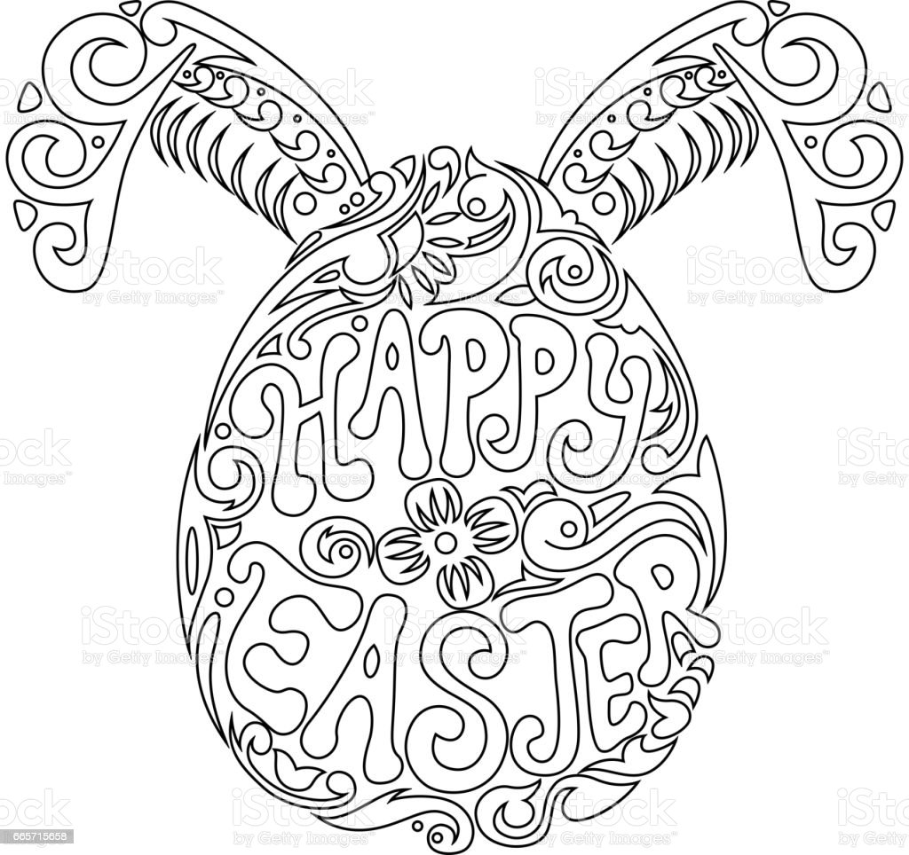 Hand Drawn Easter Egg And Bunny Ears For Adult Coloring Page In - Easter-bunny-ears-coloring-pages
