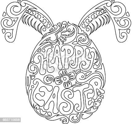 Ilustración de Huevo De Pascua Dibujado Mano Y Orejas De Conejo Para ...