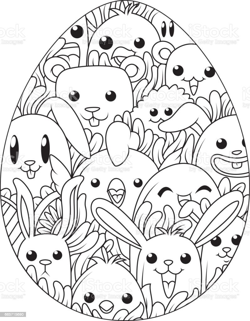 Hand Drawn Easter Eggs For Coloring Book Adult And Cute Cartoon Elements Royalty Free