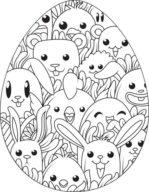 Hand Drawn Easter Eggs For Coloring Book Adult And Cute Cartoon Elements Vector Art Illustration