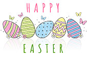 Hand drawn easter eggs with text happy easter