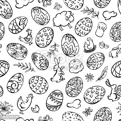 istock Hand drawn easter elements seamless pattern 929215146