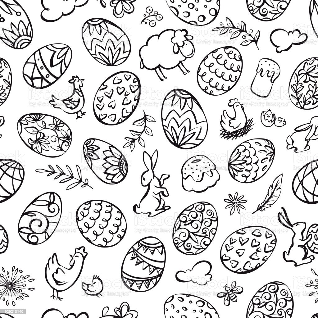 Hand drawn easter elements seamless pattern vector art illustration