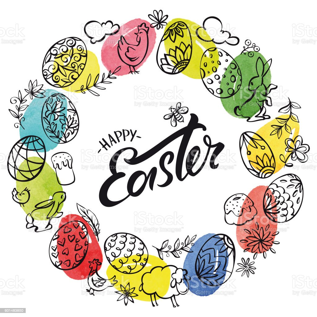 Hand drawn easter elements wreath and watercolor eggs in the background vector art illustration