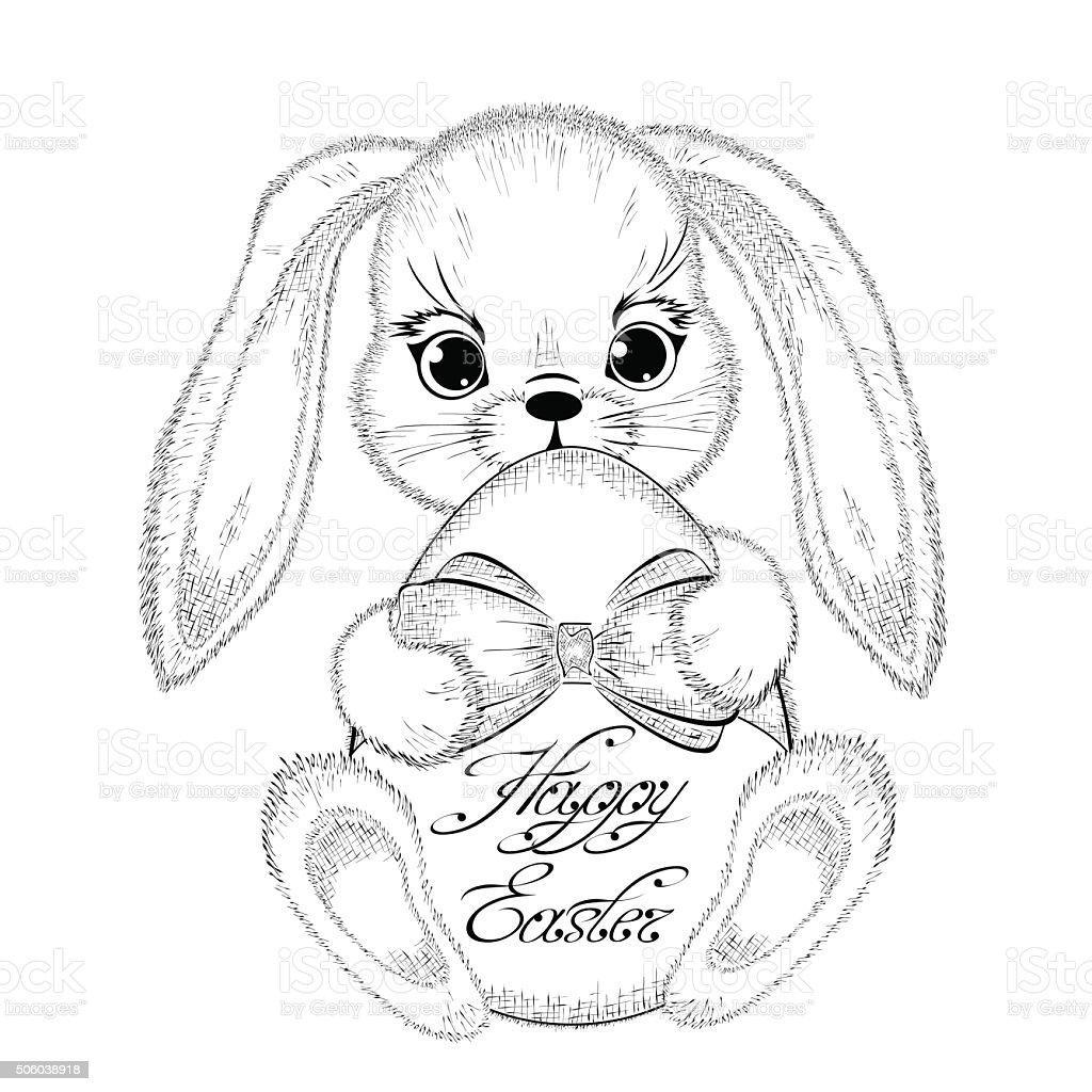 Disegno A Mano Con Uovo Di Pasqua Coniglio Pasquale Immagini