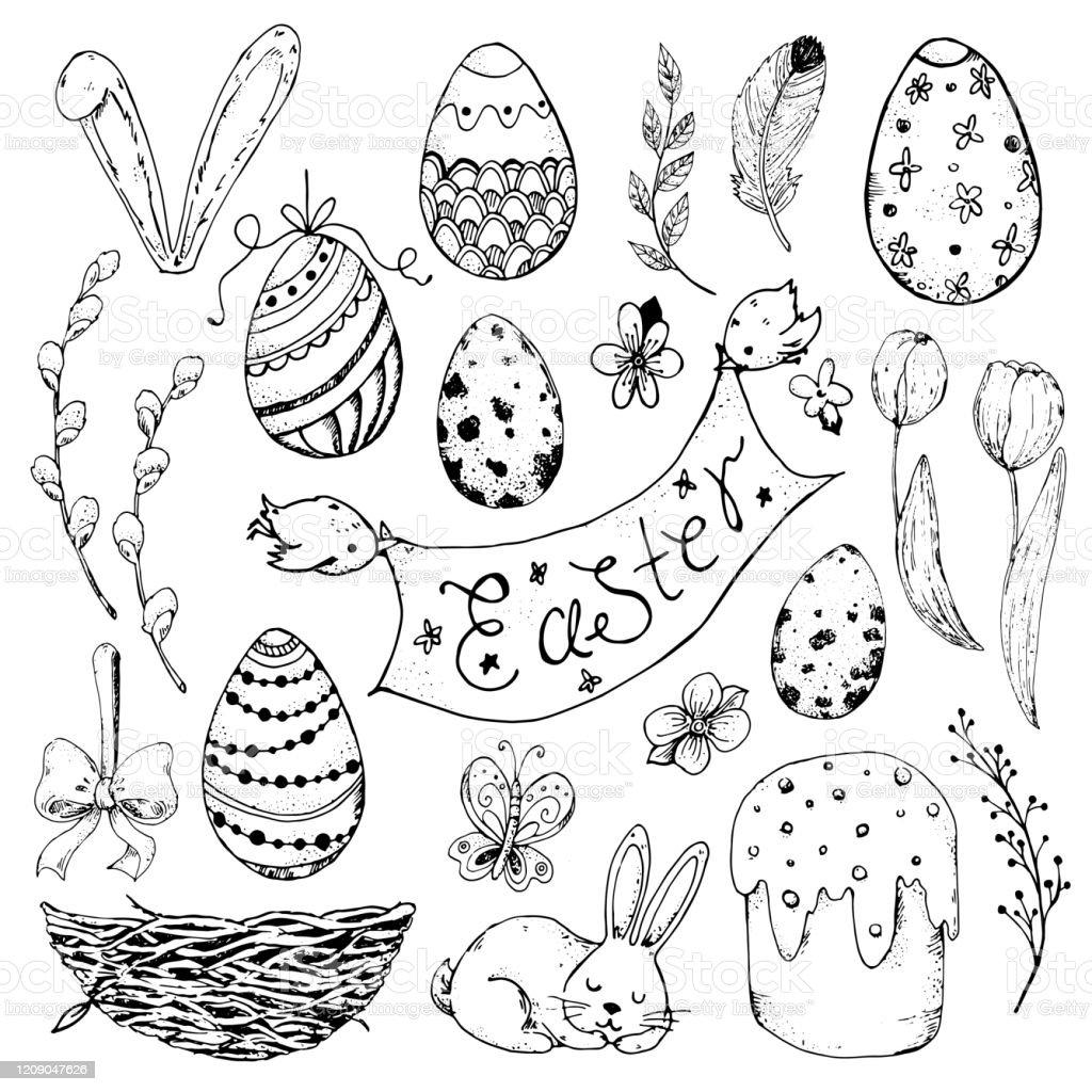 A Galinha Dos Ovo De Ouro Para Colorir vetores de a páscoa desenhada À mão definiu ilustração