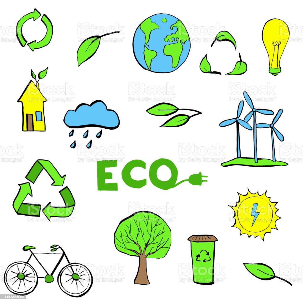 Hand drawn Ecology symbols set. Modern linear style vector concept....