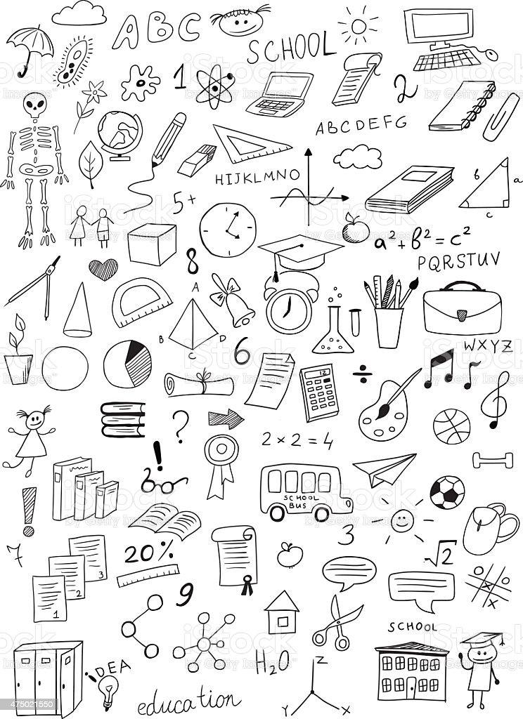 hand drawn education vector set vector art illustration