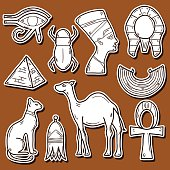 Hand drawn Egypt stickers