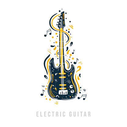 Hand drawn electric guitar with notes, ribbons and dots around it.