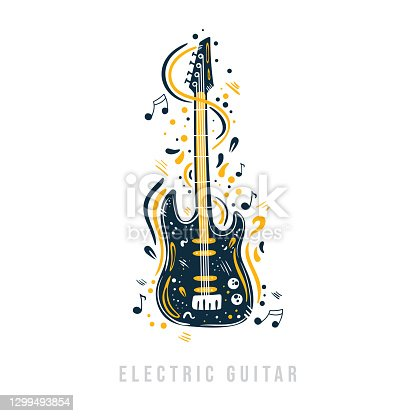 istock Hand drawn electric guitar with notes, ribbons and dots around it. 1299493854